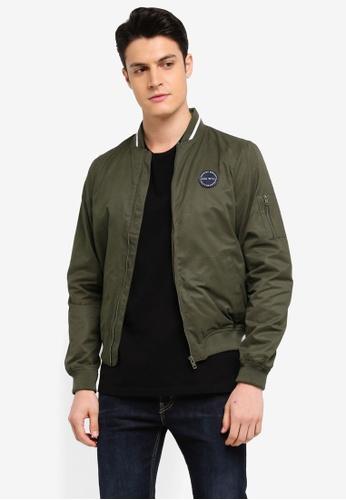 Jack Wills green Rame Cotton Bomber Jacket C60B9AA6EE19EFGS_1