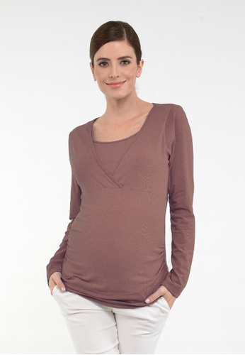 9months Maternity brown Brown L/S Nursing Wrap Top 1D16BAA042DCF6GS_1