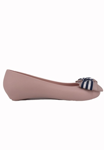 Halo pink Bow Waterproof Jelly Flats Shoes A62CBSHA7EC01AGS_1