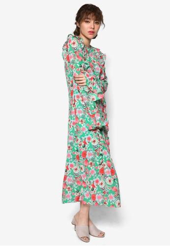 esprit童裝門市韓時尚花卉荷葉飾及膝洋裝, 服飾, 洋裝