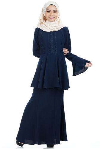 Kayla Kurung with Frill Peplum from Ashura in Multi and Navy
