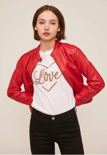 Terranova white Love T-Shirt With Glitter E541EAAE1A9282GS_1