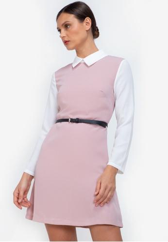ZALORA WORK pink Contrast Fit & Flare Dress 9B73EAAACC98DEGS_1