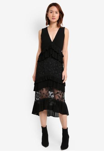 LOST INK black 3D Frill Layered Midi Dress LO238AA0SZ59MY_1
