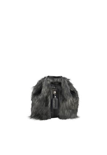 LIVLOLA black and grey Mini Vegan Faux Fur Backpack in grey 5584EAC65473CEGS_1