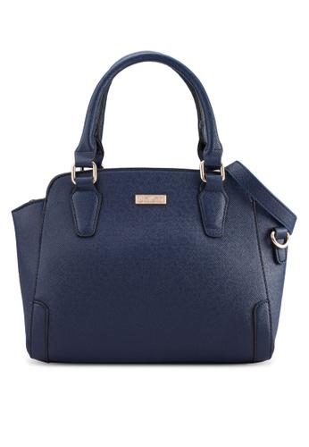 Unisa blue and navy UNISA Saffiano Textured Trapeze Convertible Shoulder Bag UN821AC05BIWMY_1