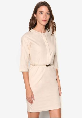 簡約腰帶七分袖esprit 見工洋裝, 服飾, 洋裝