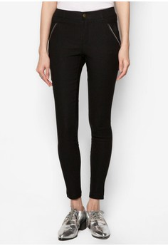 Cotton Skinny Pants With Zip Detail