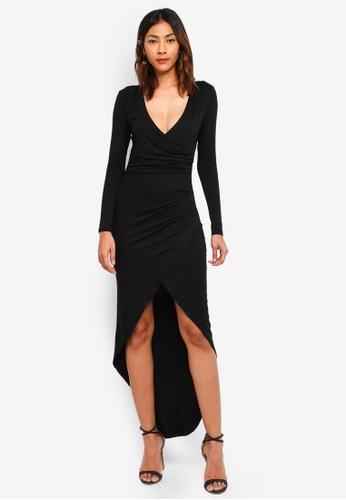Lipsy black Drape Maxi Dress 705F7AA9CF33DEGS_1