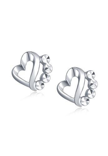 MaBelle silver 14K White Gold Loving Heart Stud Earrings MA584AC2W731HK_1