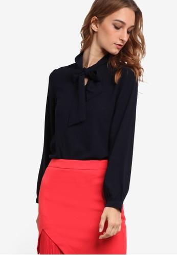 esprit服飾繫帶領長袖襯衫, 服飾, 上衣