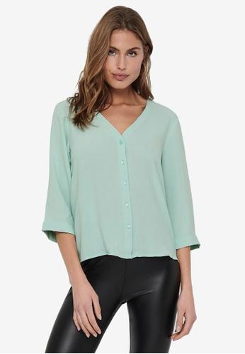 JACQUELINE DE YONG green and blue Capote 3/4 Shirt D15A9AA9E2BAFCGS_1