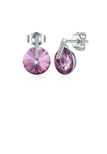 Glamorousky purple 925 Sterling Silver Simple Fashion Purple Austrian Element Crystal Geometric Stud Earrings BAD0BAC5E4032AGS_1
