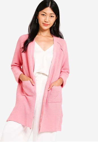 ZALORA pink Longline Knit Cardigan FB15AAAAE3DFFAGS_1