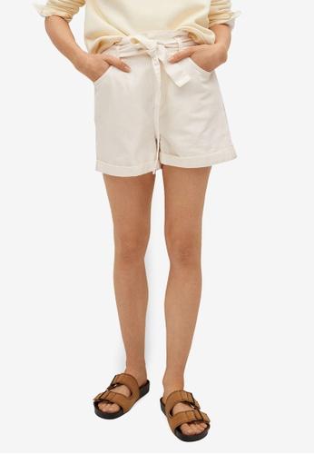 Mango beige Paperbag Denim Shorts 7DC8AAAFD6805CGS_1
