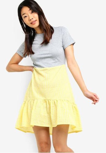 Something Borrowed grey Fluted Hem Mini Dress E921DAA665FA64GS_1