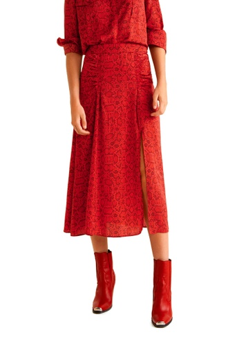 Mango red Snake Print Skirt 54C63AADB6C325GS_1