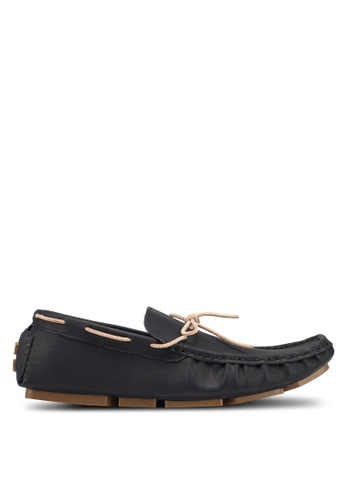 UniqTee 黑色 Laced Up Driving Moccasins 66A20SHB0FDEFAGS_1