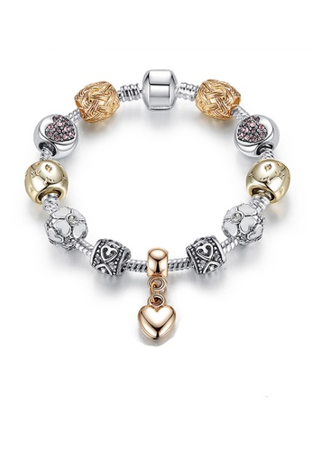 YOUNIQ silver YOUNIQ Silver Gold Charm Bracelet with Tiny Heart Pendant Pink Crystal Beads 18cm B0279AC6F6F2F2GS_1
