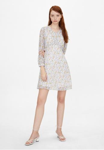 Pomelo white Floral Print V-Neckline Dress - White A0662AAF4C7B8EGS_1
