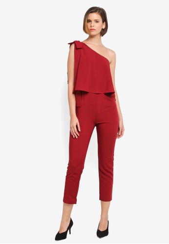ZALORA red Asymmetrical Bow Detail Jumpsuit 9F12DAAA2073A6GS_1