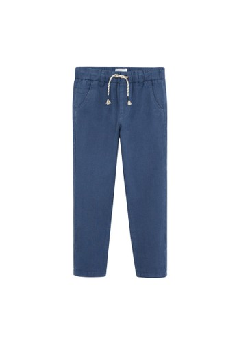 MANGO KIDS blue Straight Linen-Blend Trousers 71A0FKA254808AGS_1