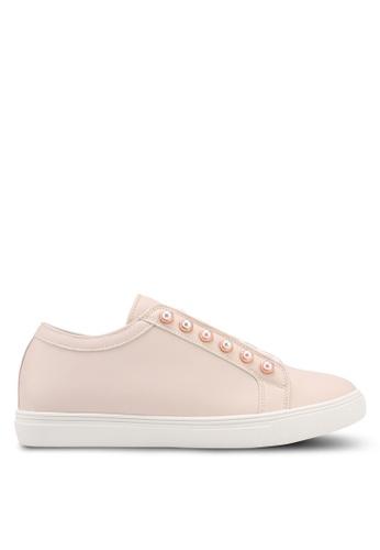 Velvet beige Pearl Eyelet Sneakers 78944SH7B05D82GS_1