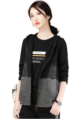 A-IN GIRLS black and white Fashion Striped Stitching Denim Jacket 8824CAAE3EB4EBGS_1