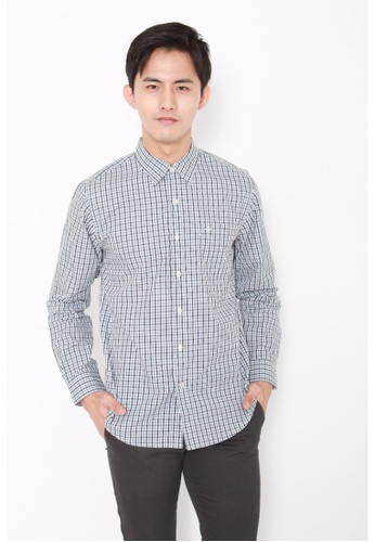 Dockers blue Dockers Easy Casual Long Sleeve Shirt Tattersall Copen Blue DO282AA0FVZCSG_1