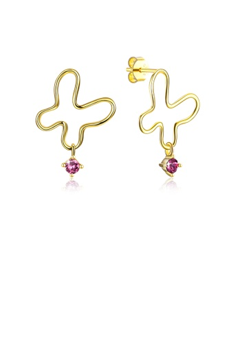 Glamorousky purple 925 Sterling Silver Gold Plated Fashion Simple Butterfly Earrings and Ear Studs with Purple Austrian Element Crystal 6BC3DACF930219GS_1