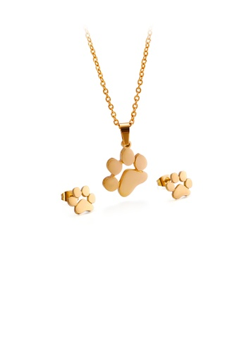 Glamorousky silver Simple and Cute Plated Gold Dog Paw 316L Stainless Steel Necklace and Stud Earrings Set A7C21ACCF4DF7EGS_1