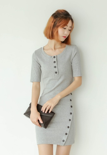 Shopsfashion grey Bodycon Dress in Grey SH656AA24LIDSG_1