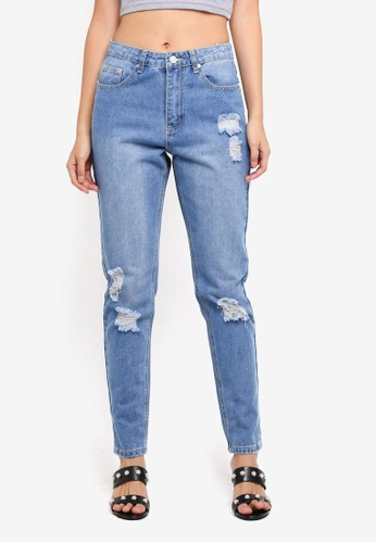 MISSGUIDED blue Riot High Rise Distressed Mom Jeans F3D57AA742CC46GS_1