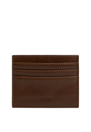 MANGO Man brown Faux Leather Cardholder 7D24FACD2FD5F5GS_1