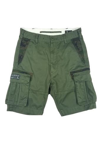 L.I.M.I.T.E green Camo details Cargo Shorts LI425AA0FCK3SG_1
