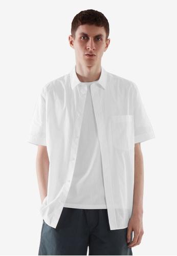 COS white Regular-Fit Short-Sleeved Shirt 7E881AAF9F674CGS_1