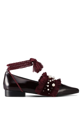 House of Avenues red Jacquard Fringed Pearl Flats 6DAACSHBA4DF49GS_1