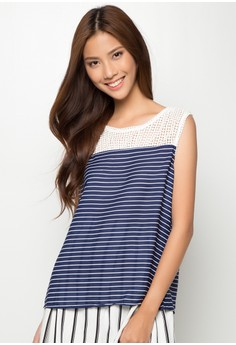 Woven Stripes Blouse With Crochet Detail