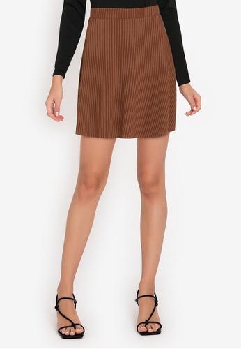 ZALORA WORK brown Pleated Rib Mini Skirt F5C0BAA3E67316GS_1