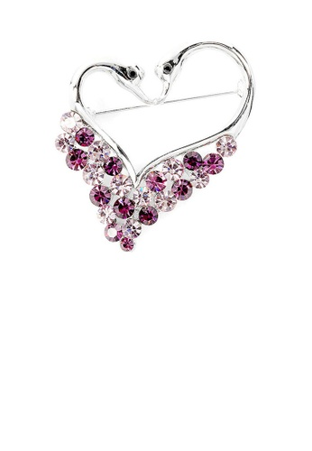 Glamorousky purple Swans Brooch with Purple Austrian Element Crystals EFC66ACF4FF783GS_1