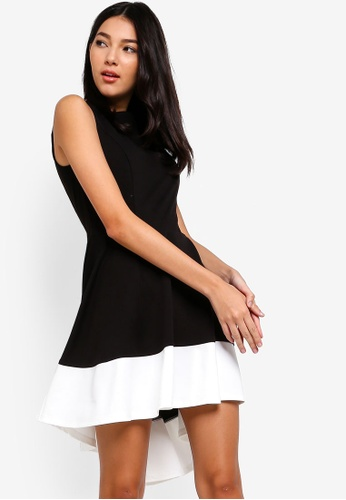 ZALORA black and multi High Low Hem Dress 9BA36AAB99DAC8GS_1