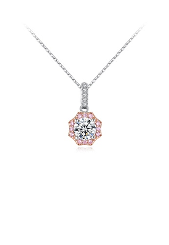 Glamorousky white 925 Sterling Silver Simple and Fashion Geometric Pendant with Cubic Zirconia and Necklace 30CFCAC0C39DB8GS_1