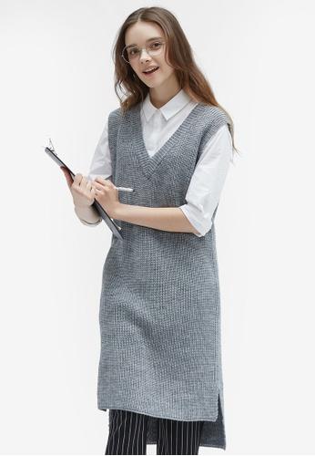 Hopeshow grey V-Neck Pinafore Knit Dress 62445AA307A709GS_1