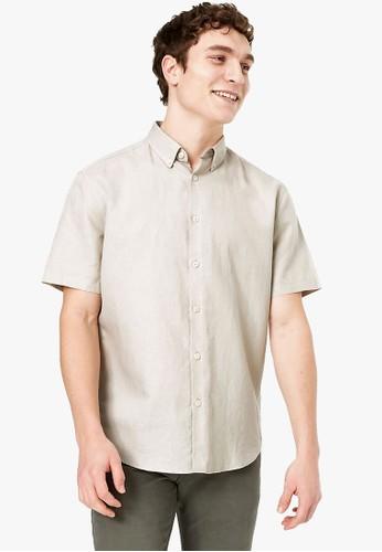 MARKS & SPENCER beige Linen Blend Easy Iron Shirt 4E7CBAAA4AAF80GS_1