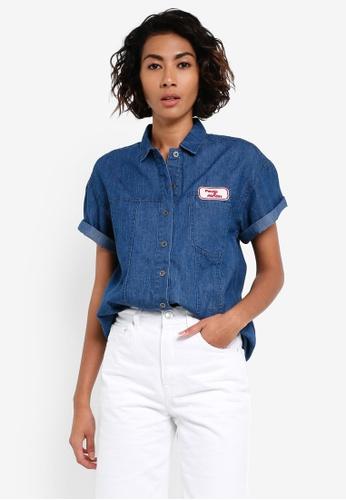 Pestle & Mortar blue Mechanic Ladies Denim Shirt PE354AA0RTC4MY_1