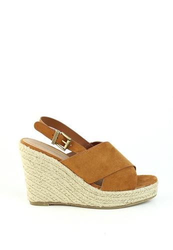 London Rag brown Tan Cross Banded Wedges Heel Sandal 6AC83SH42986E4GS_1