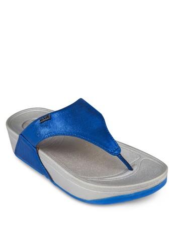 金屬感夾腳厚底zalora 包包 ptt涼鞋, 女鞋, 鞋