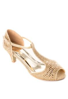 Bejewelled Peep-Toe Heeled Sandals