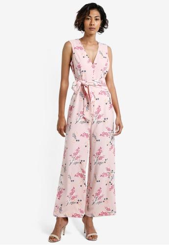 Miss Selfridge pink Petite Pink Printed Jumpsuit MI665AA0RCJPMY_1