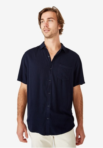 Cotton On blue Cuban Short Sleeve Shirt 77F25AAA3CAC87GS_1